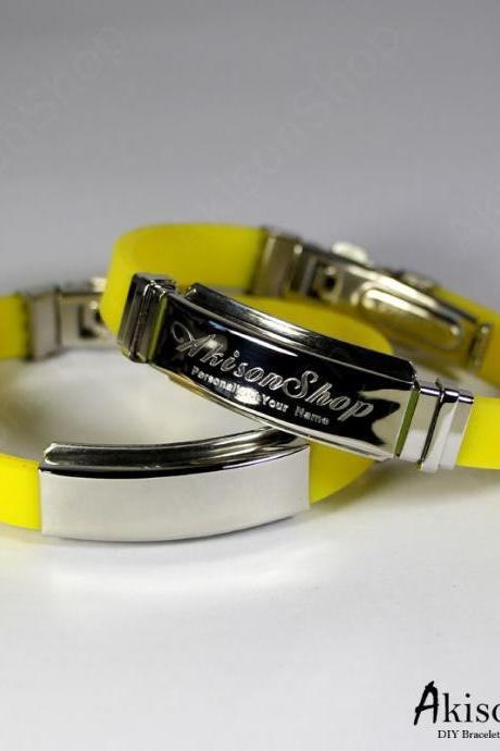 Personalized Name Bracelet Fashion Stainless Steel Rubber Silicone Bangle Bracelet JC001-Yellow