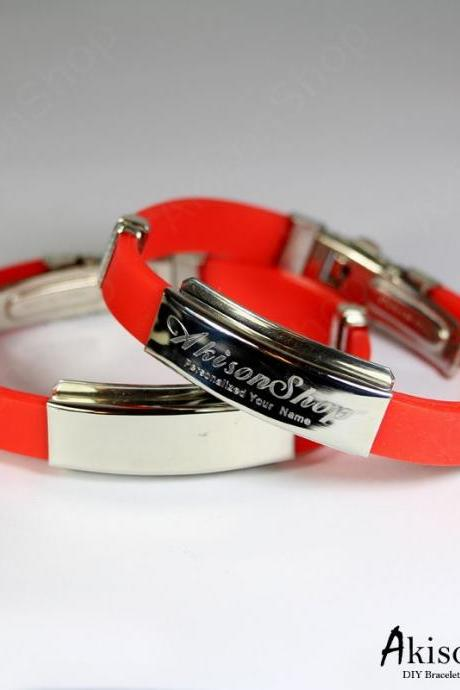 Personalized Name Bracelet Fashion Stainless Steel Rubber Silicone Bangle Bracelet JC001-Red